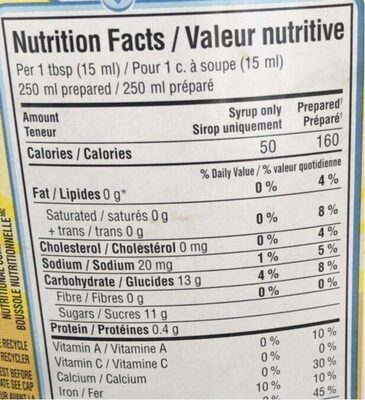 sirop chocolat - Nutrition facts - fr