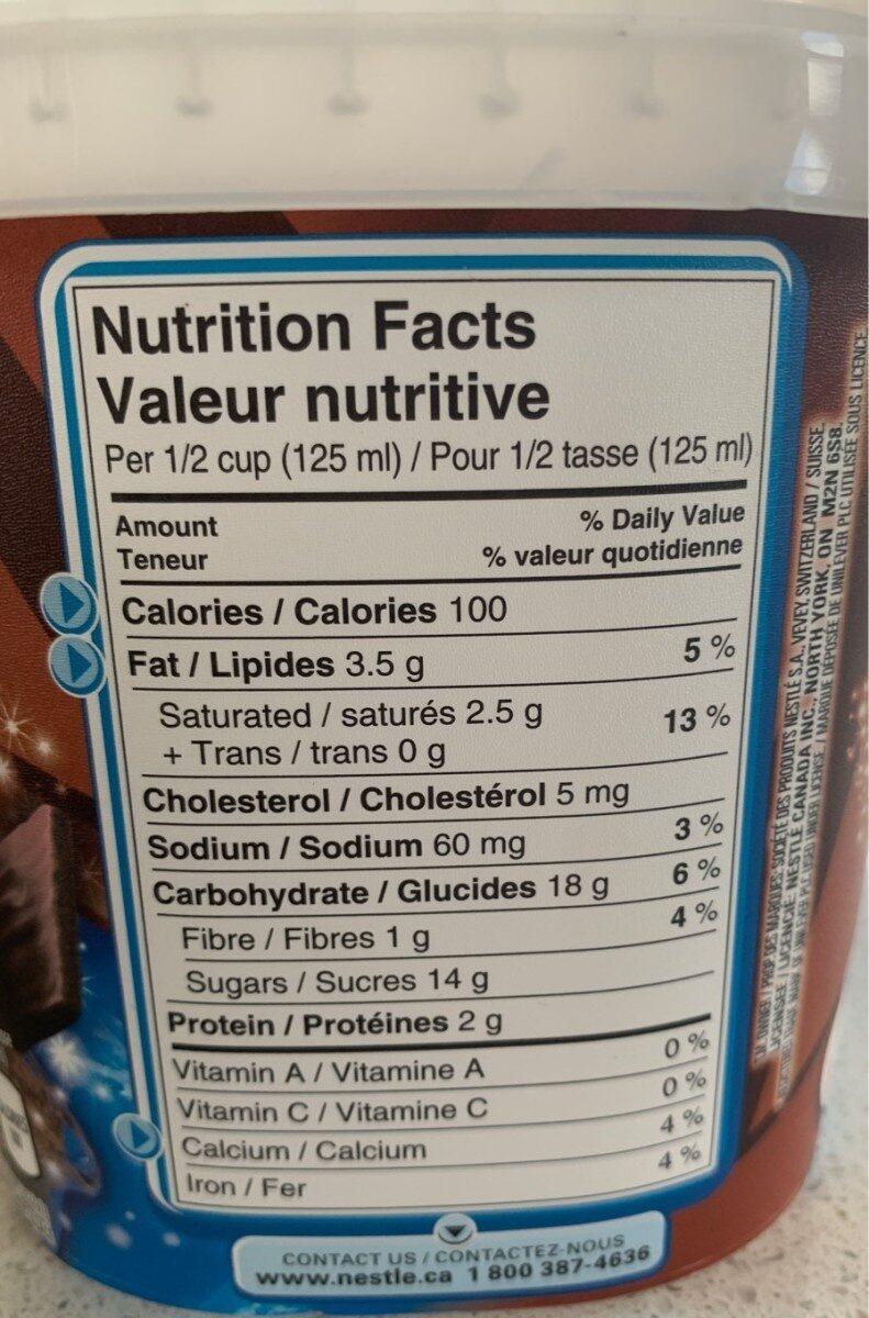 Crème glacé au Chocolat - Informations nutritionnelles - fr