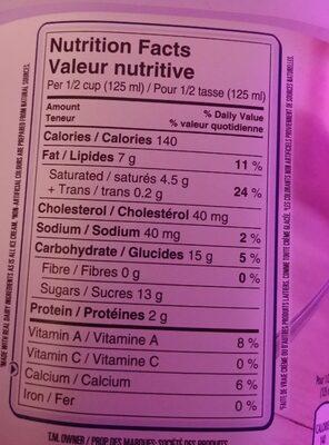 La vraie crème - Nutrition facts - en
