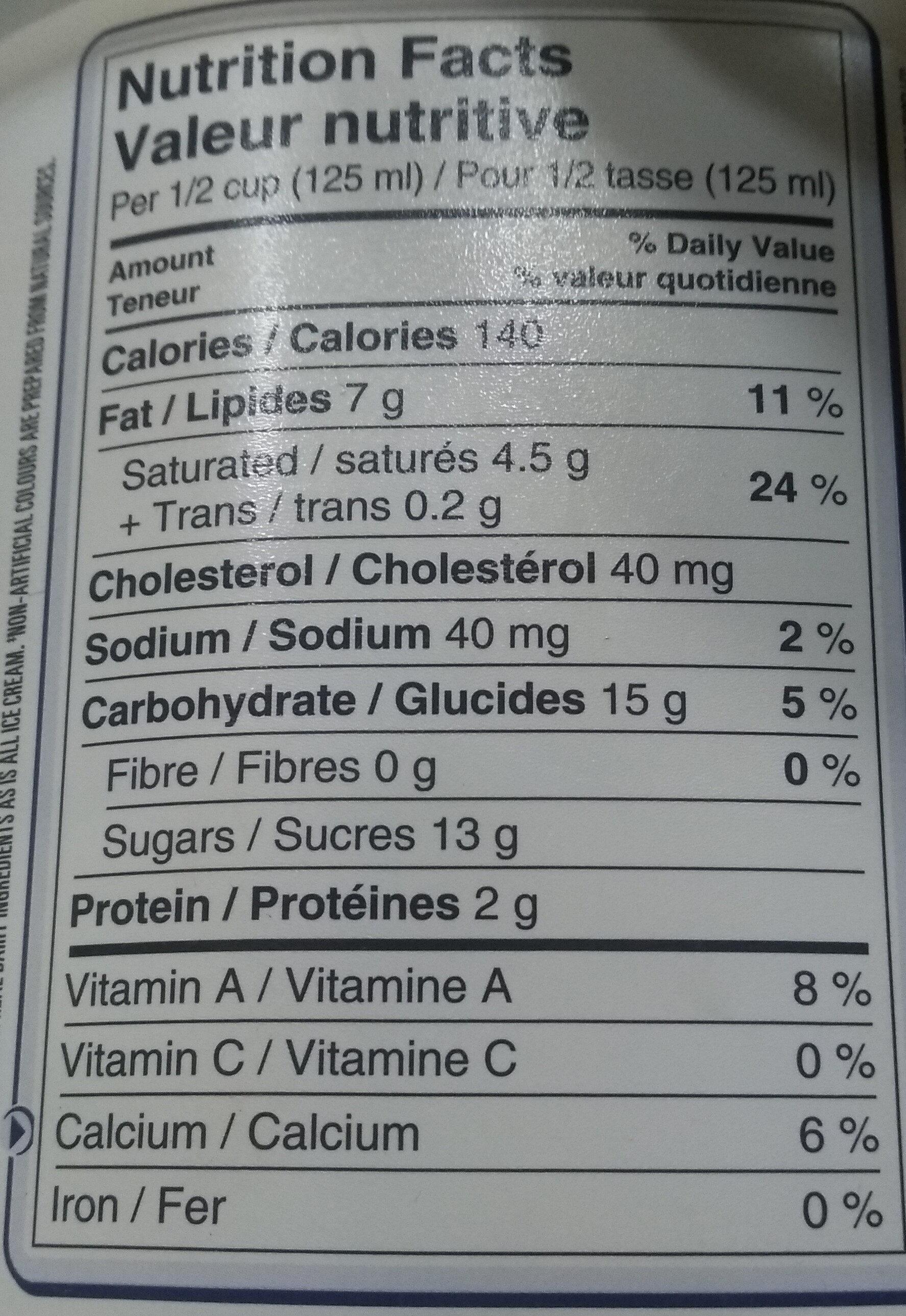 La vraie crème - Informations nutritionnelles - fr