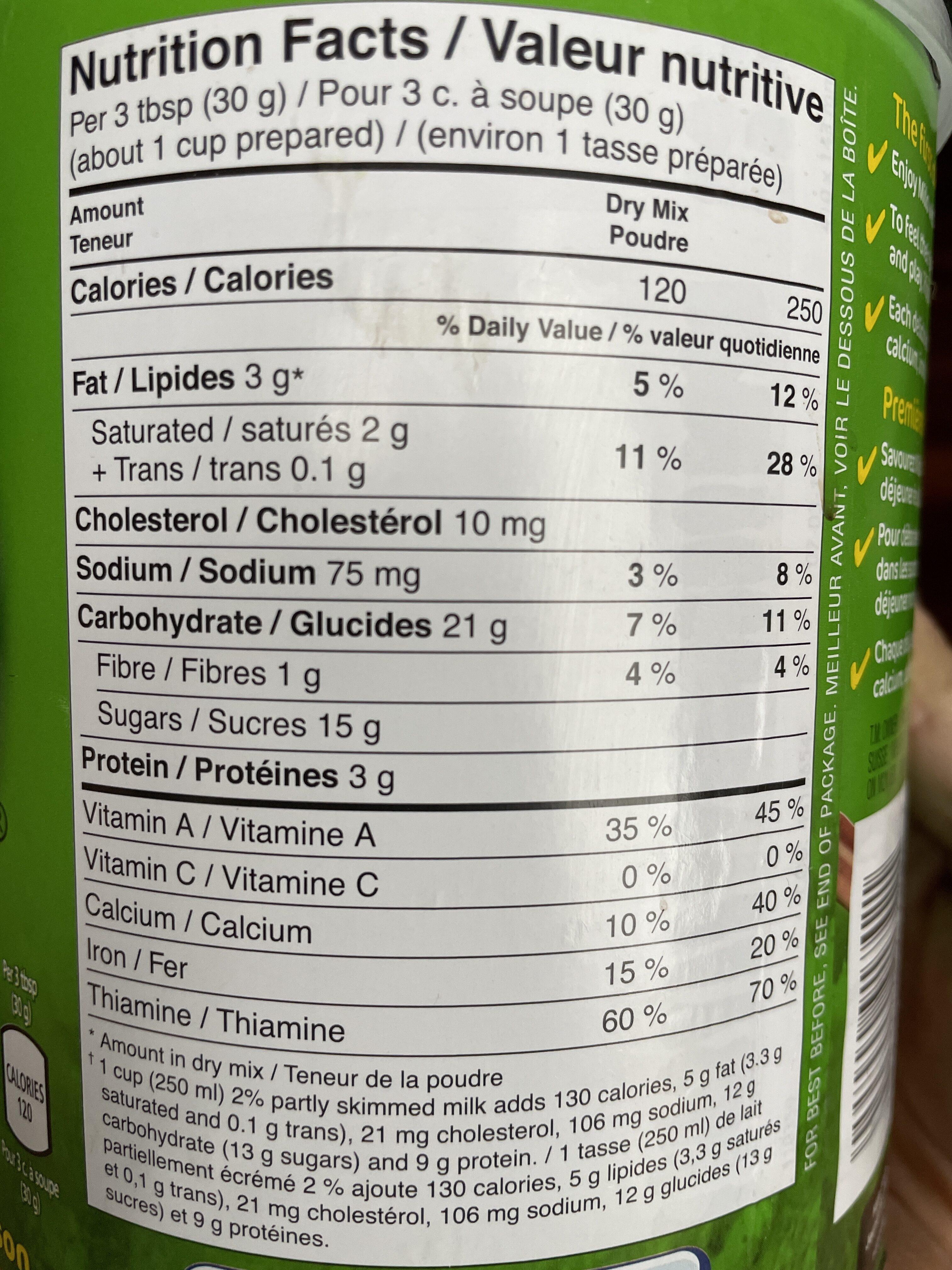 Milo - Informations nutritionnelles - en