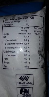 Tapioca Starch - Nutrition facts