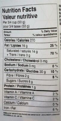 Banane séchées - Nutrition facts