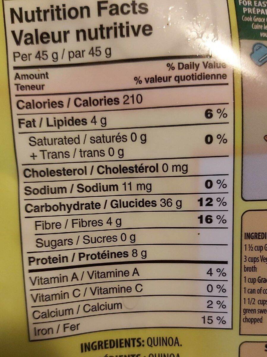 Quinoa - Informations nutritionnelles - en