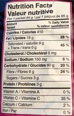 croustilles de plantain - Nutrition facts - en