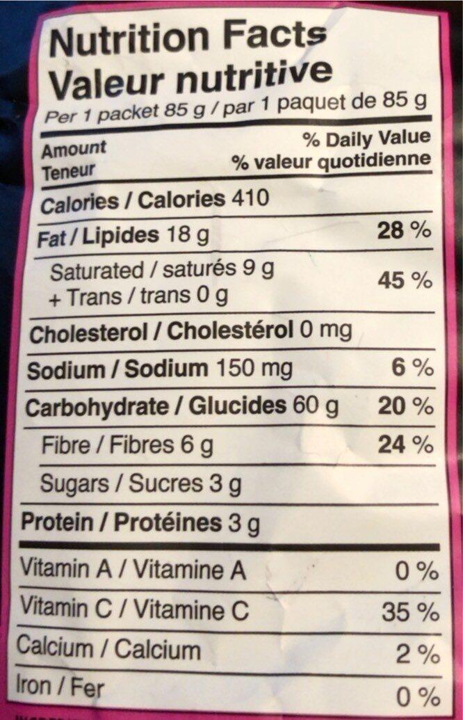 croustilles de plantain - Informations nutritionnelles - en