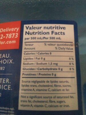Water - Informations nutritionnelles - fr