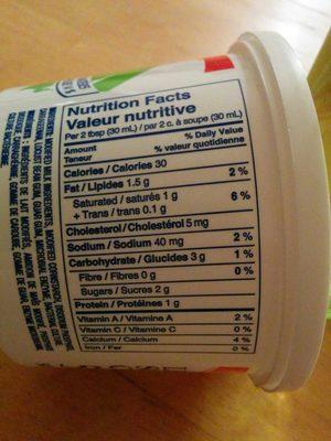 Crème sure légère - Informations nutritionnelles - fr