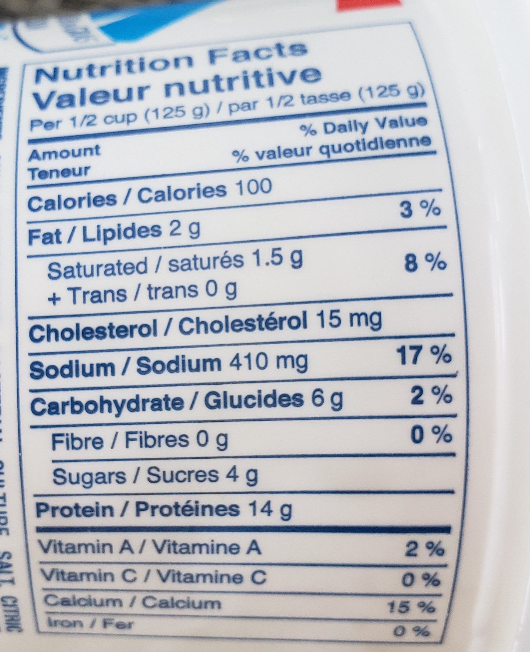 Fromage cottage 2% - Nutrition facts - fr