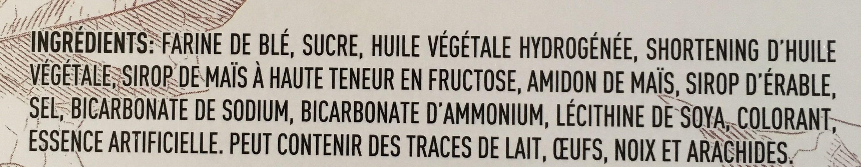 Biscuit à la crème d'érable - Ingrédients - fr