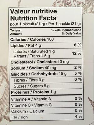 Biscuit à la crème d'érable - Informations nutritionnelles - fr