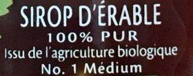 Sirop d'érable - Ingredients - fr