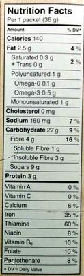 Hearty Medleys Fruit, Nut & Omega 3 - Informations nutritionnelles - en