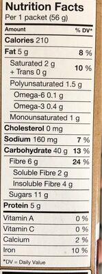 Super grain - gruau instantané - Informations nutritionnelles - en