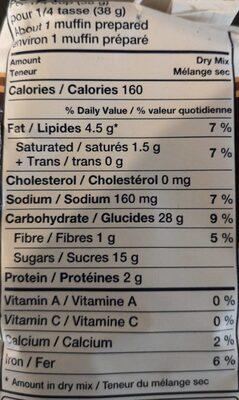 Muffin avoine et brisures de chocolat - Informations nutritionnelles - fr