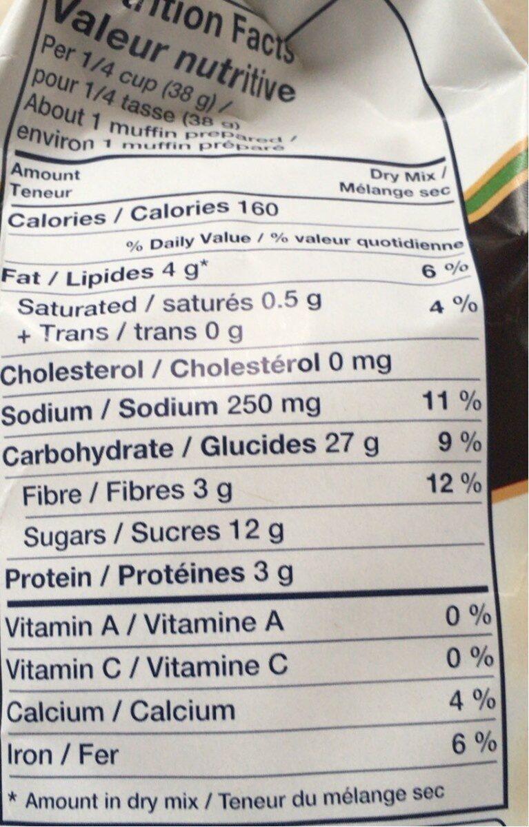 Muffin bran - Informations nutritionnelles - fr