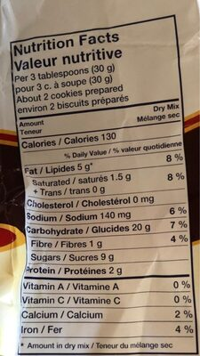 Biscuit avoine - Informations nutritionnelles - fr