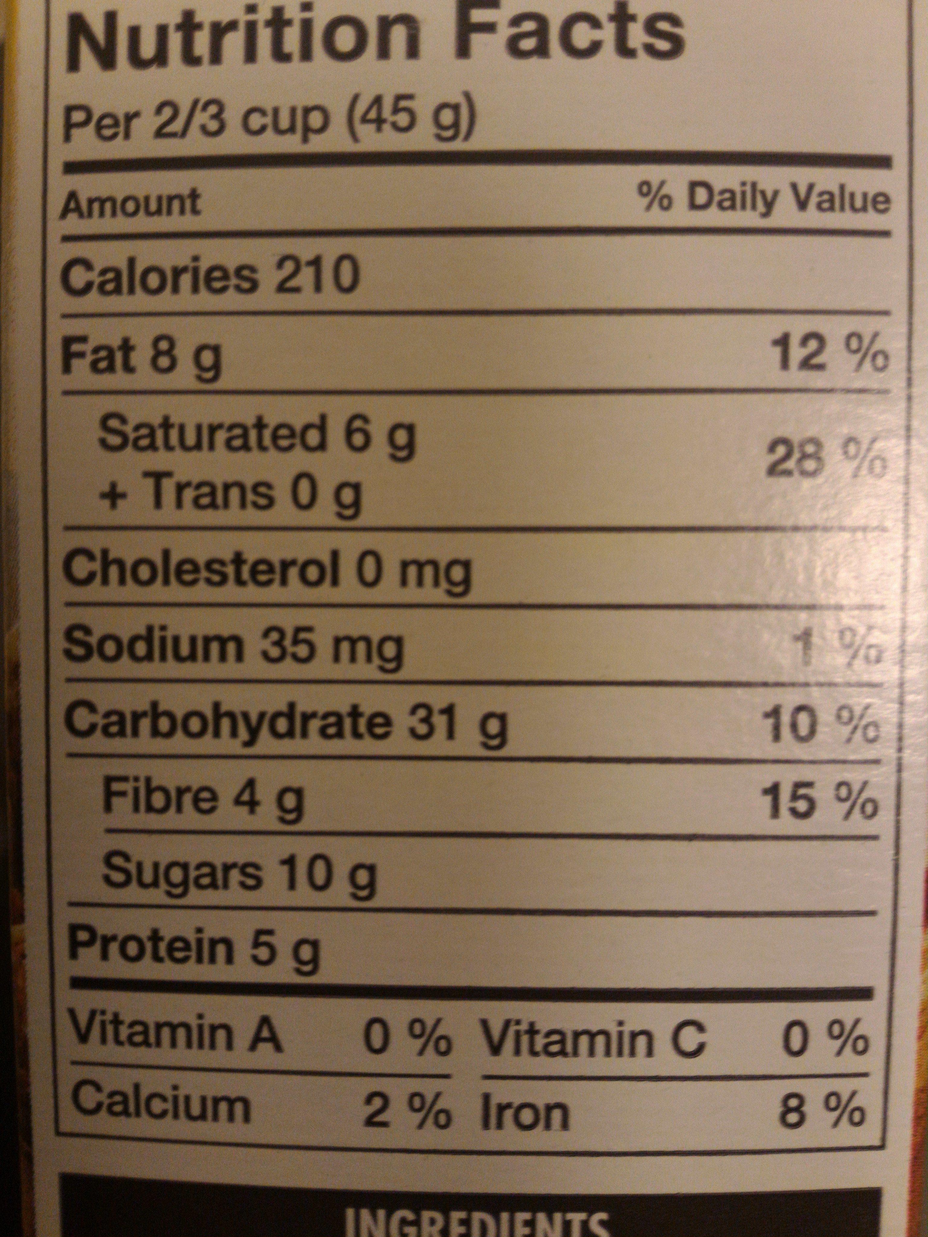 Harvest Crunch Granola Cereal Original - Nutrition facts - en