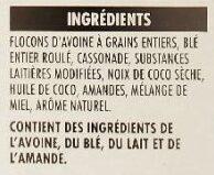 Harvest crunch granola cereal - Ingredients - fr