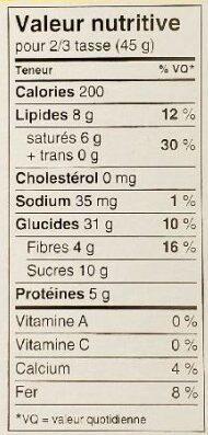 Harvest crunch granola cereal - Nutrition facts - fr