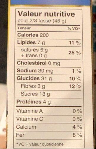 Harvest crunch granola cereales - Informations nutritionnelles - fr