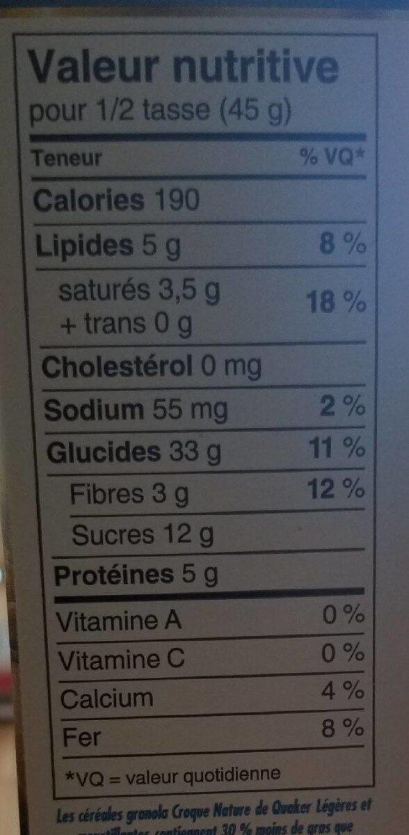 Croquet nature - Informations nutritionnelles - fr