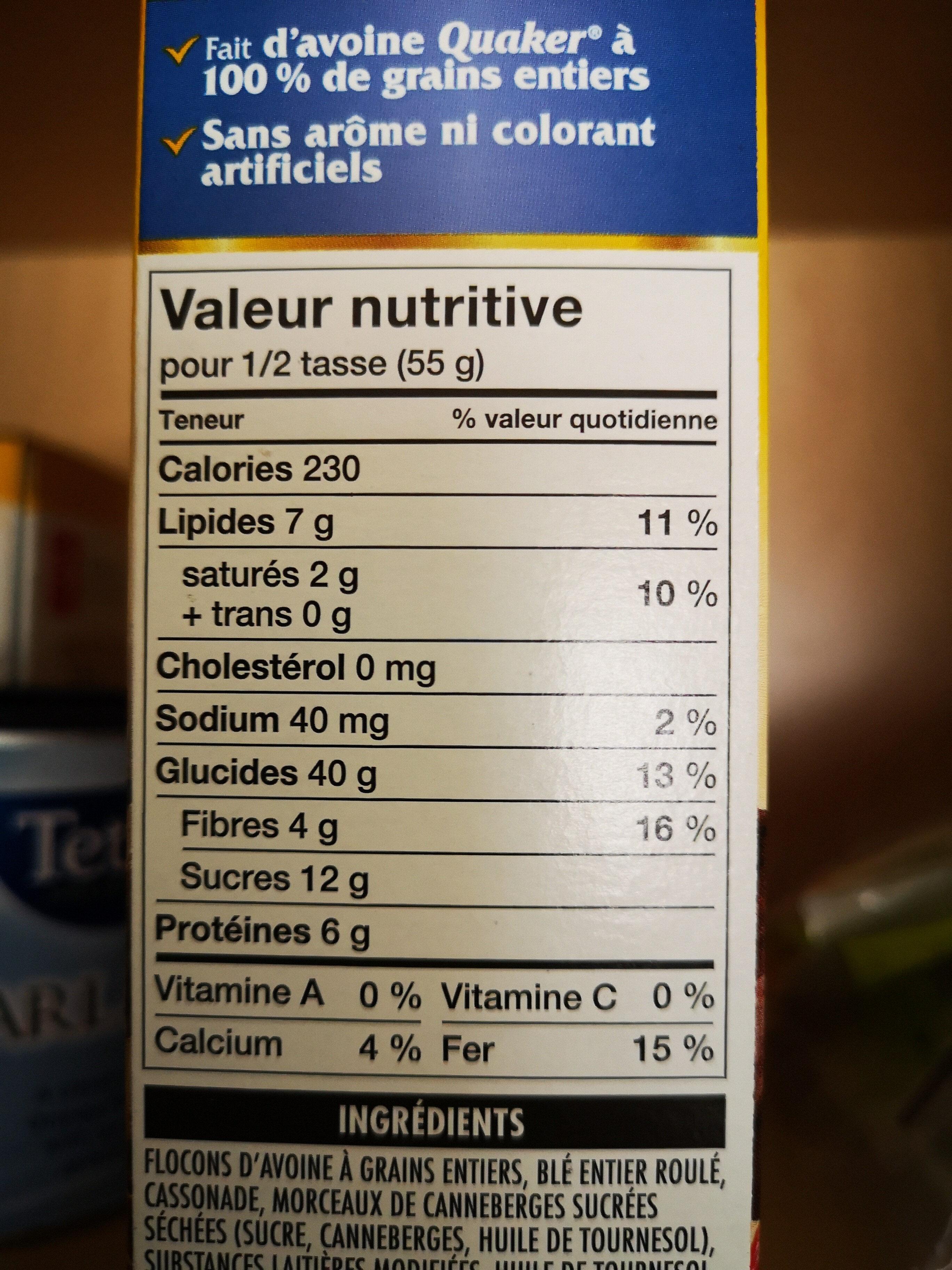 Croque Nature chocolat noir, canneberges et amendes - Nutrition facts - en