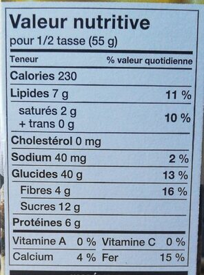 Croque Nature chocolat noir, canneberges et amendes - Informations nutritionnelles - fr