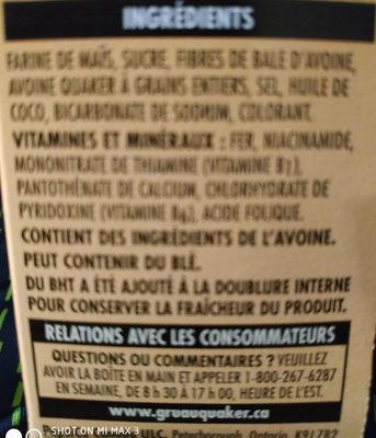 Corn squares au mais - Voedigswaarden