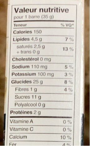 Barres tendres - Informations nutritionnelles - fr