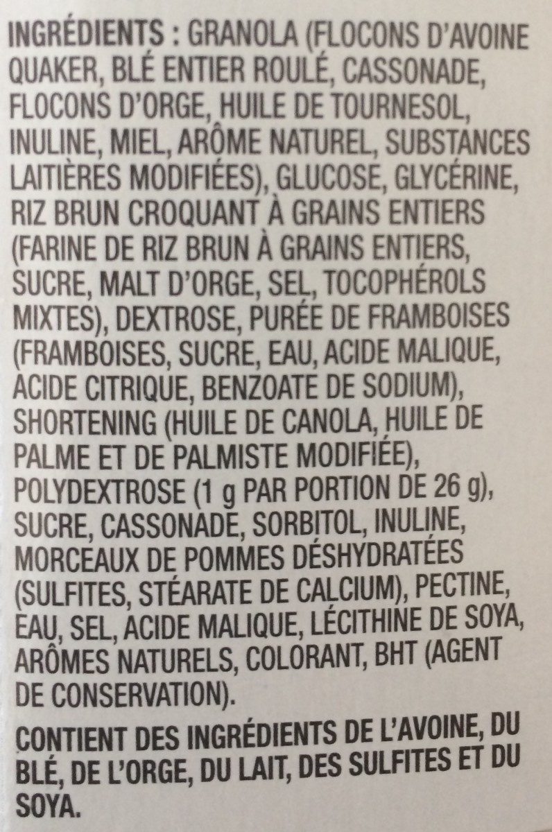 Barre tendre croustade aux framboise - Ingrédients - fr