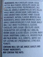 Quaker Chocolate Chip Dipps Granola Bar - Ingredients