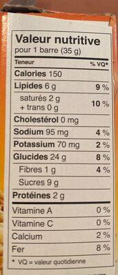 Quinoa Granola bars chocolat noix - Nutrition facts - fr