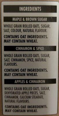 Gruau instantané - Maple & Brown Sugar - Ingredients - en