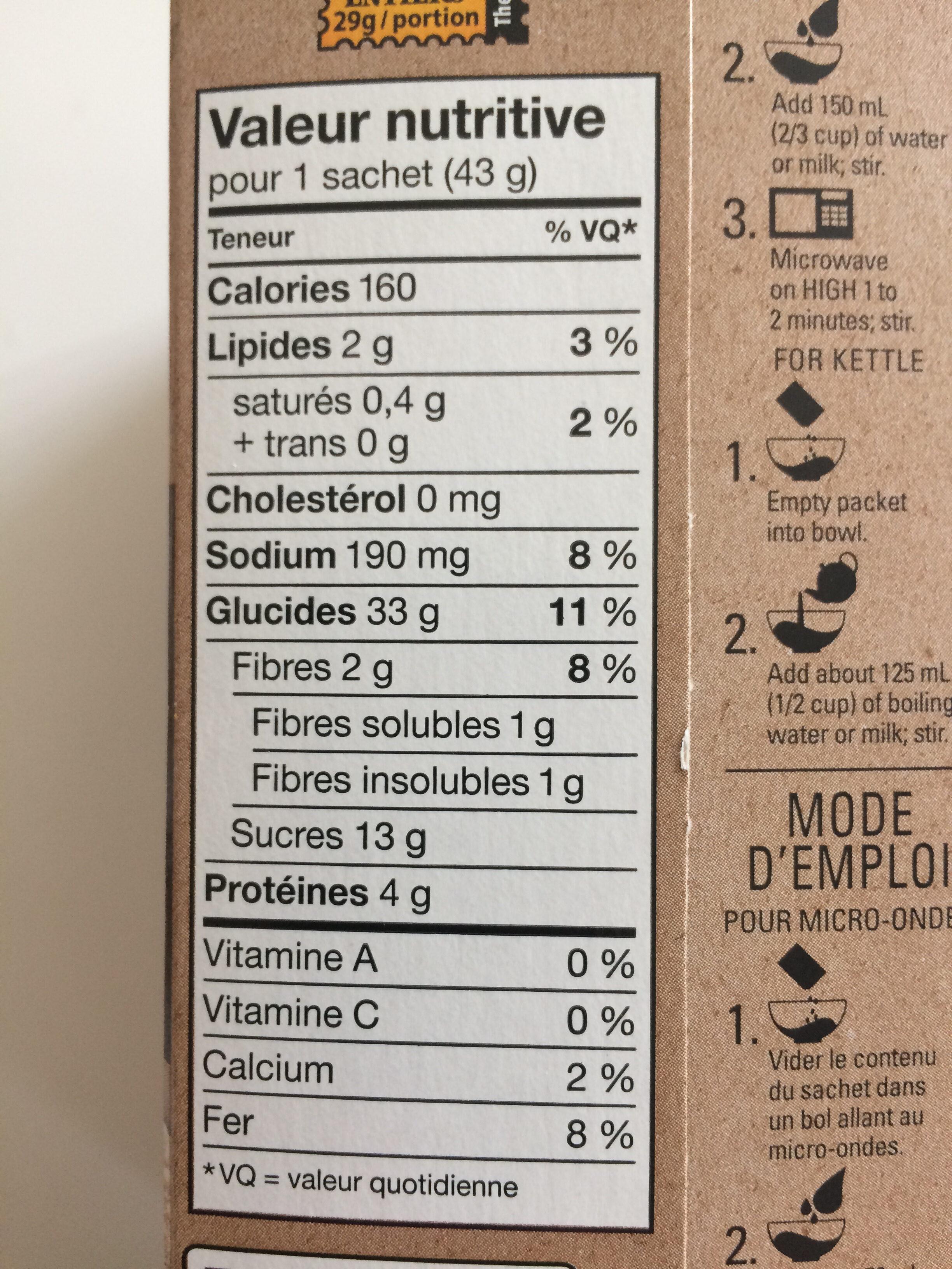 Gruau instantané Érable et cassonade - Informations nutritionnelles - fr