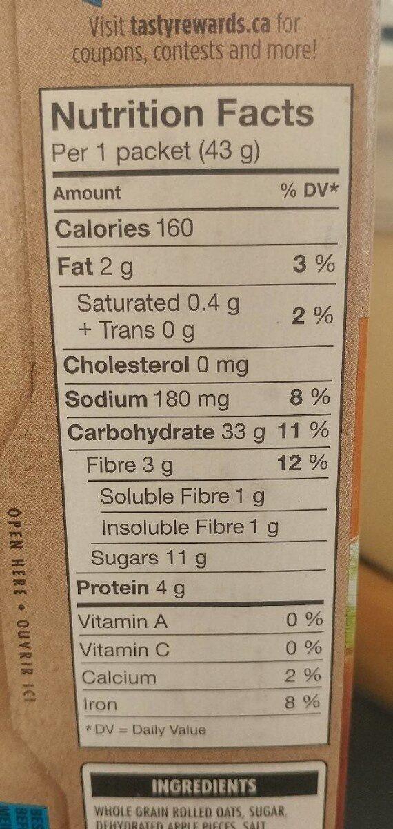 Gruau instantané pomme au caramel - Nutrition facts - fr