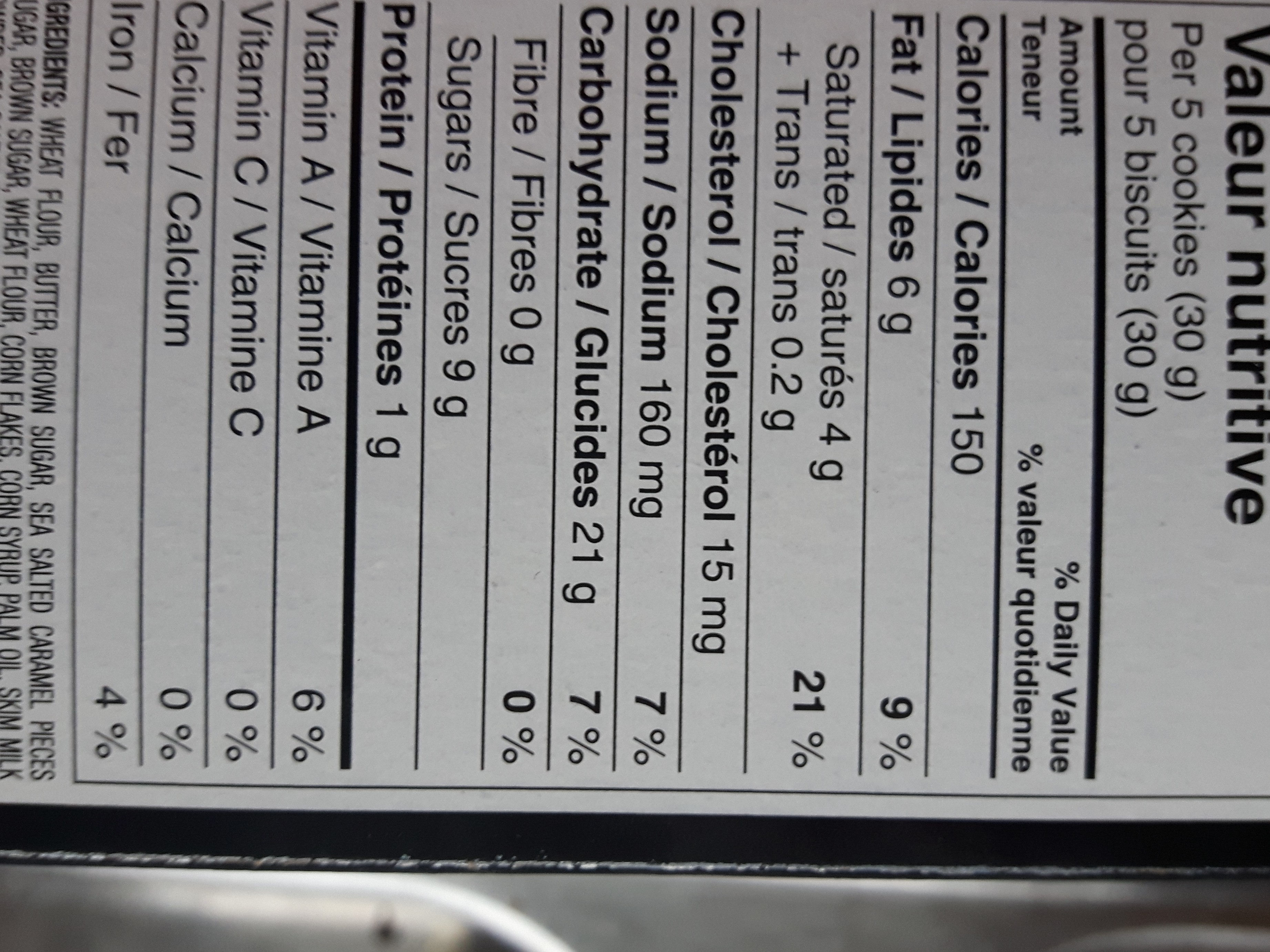 Cookie Chips - Nutrition facts - fr