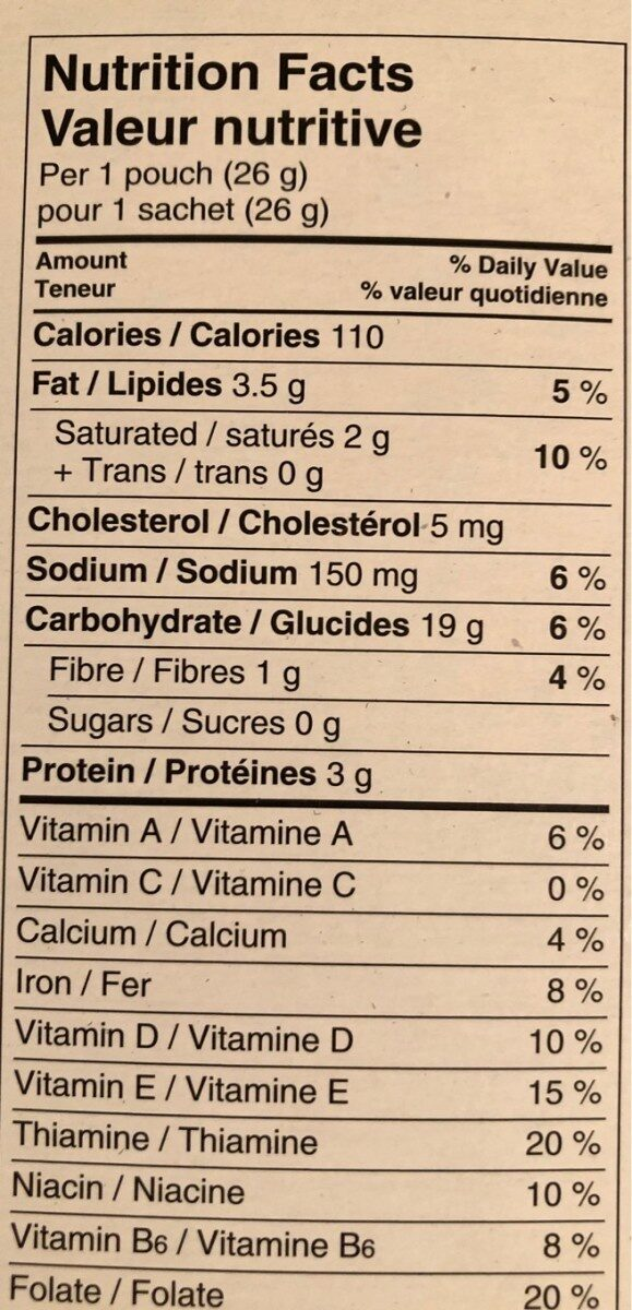 Bear Paws crackers - Nutrition facts - fr