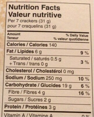 Grainsfirst crackers - Nutrition facts - en