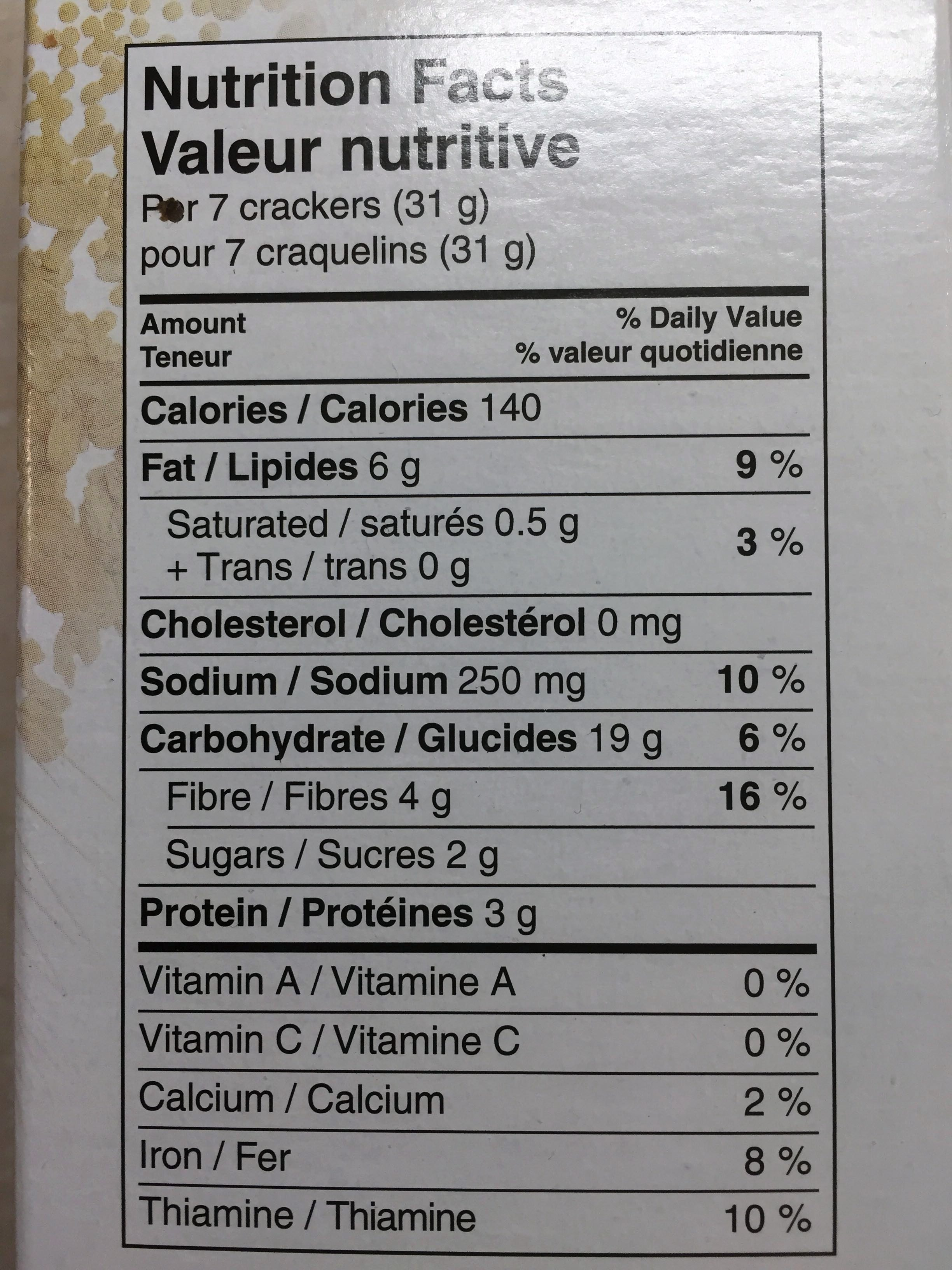 Grainsfirst crackers - Informations nutritionnelles - fr