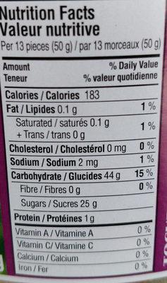 Sucettes Sures - Informations nutritionnelles - fr