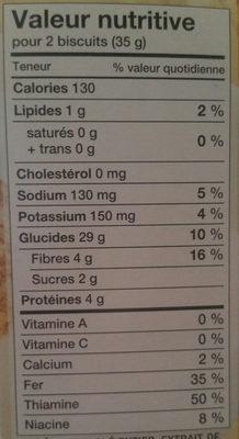 Céréales (blé Entier) - Nutrition facts - fr