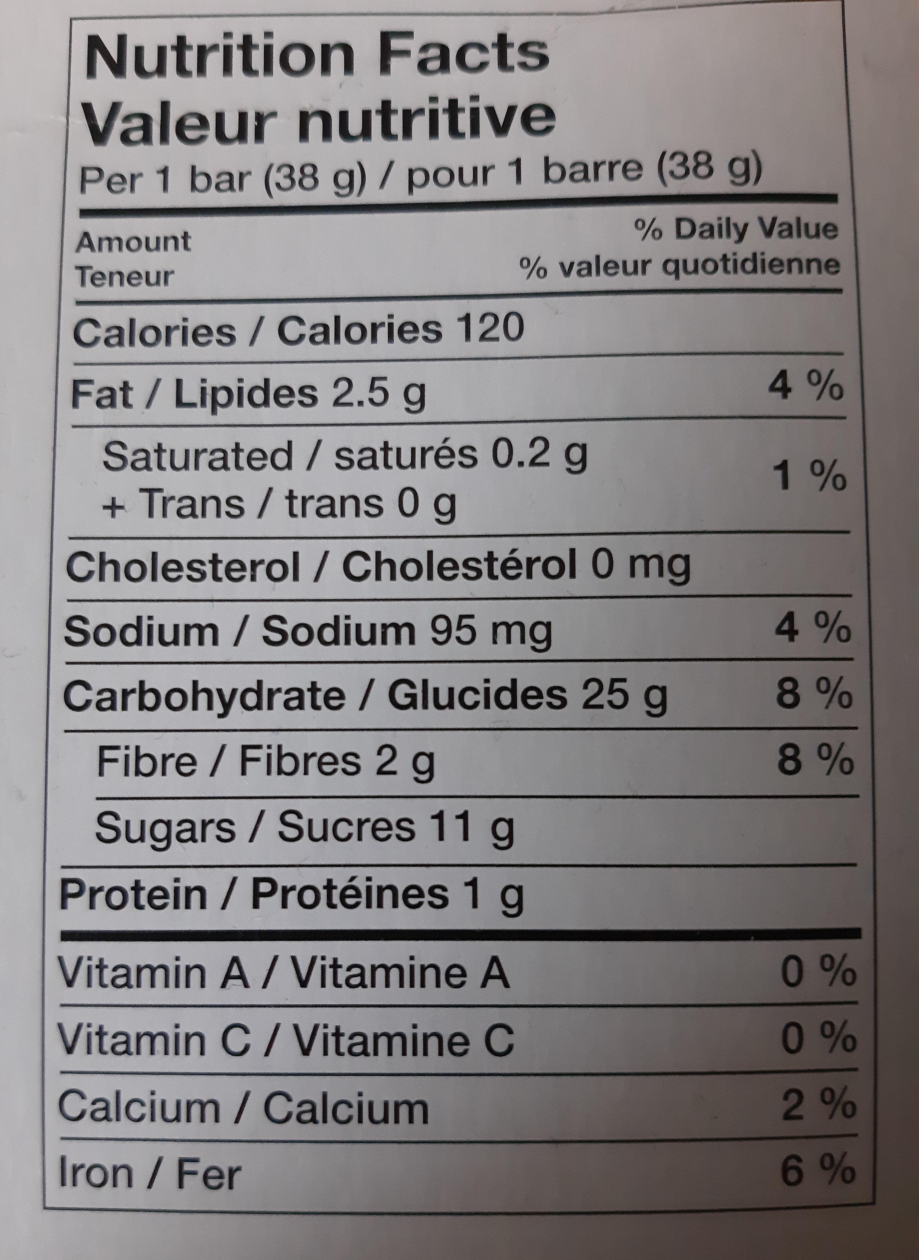 Barres De Céréales (fraises) - Nutrition facts - en