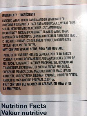 Wheat crackers - Ingredients - fr