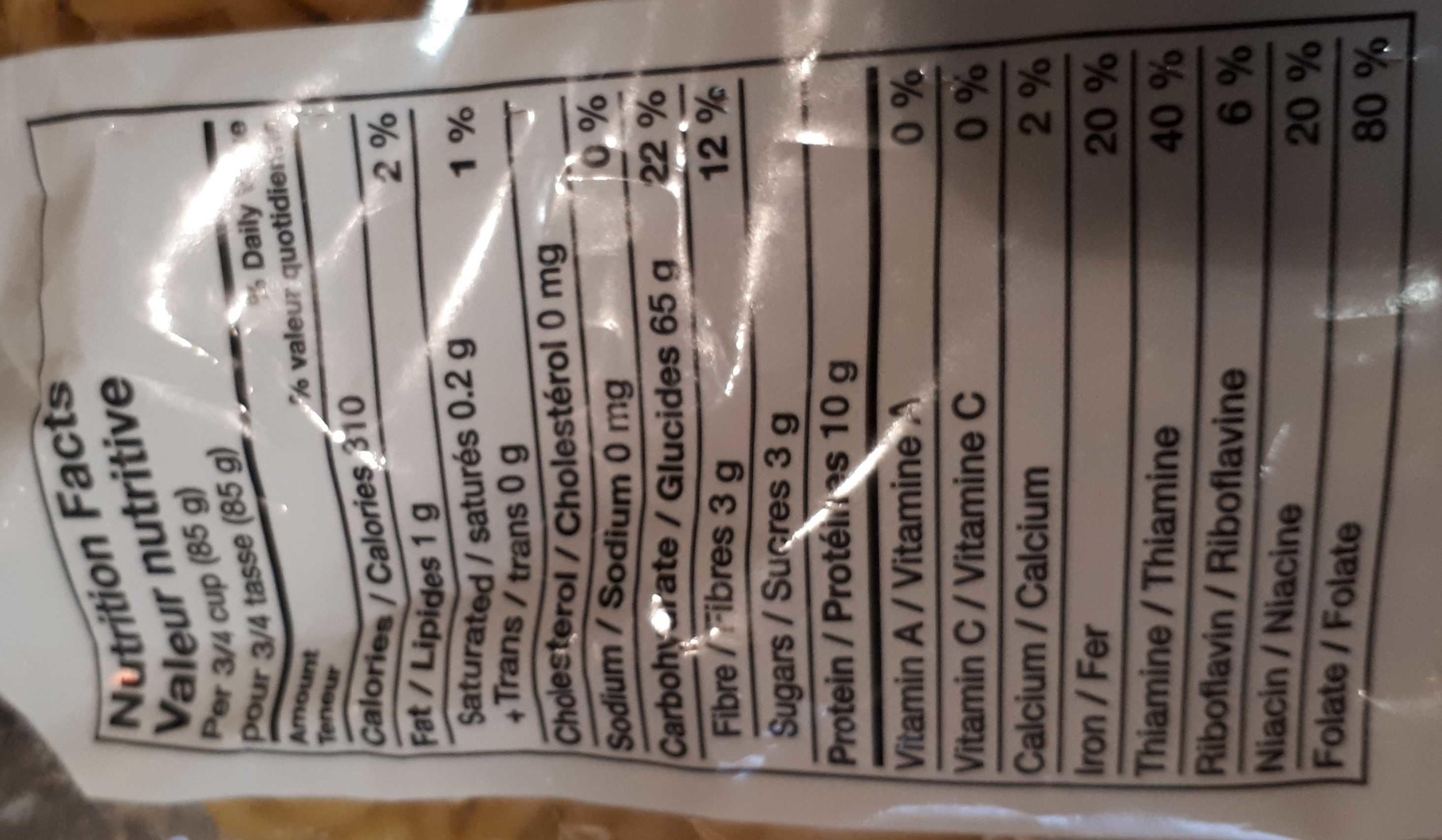 Elbow Macaroni - Informations nutritionnelles - en