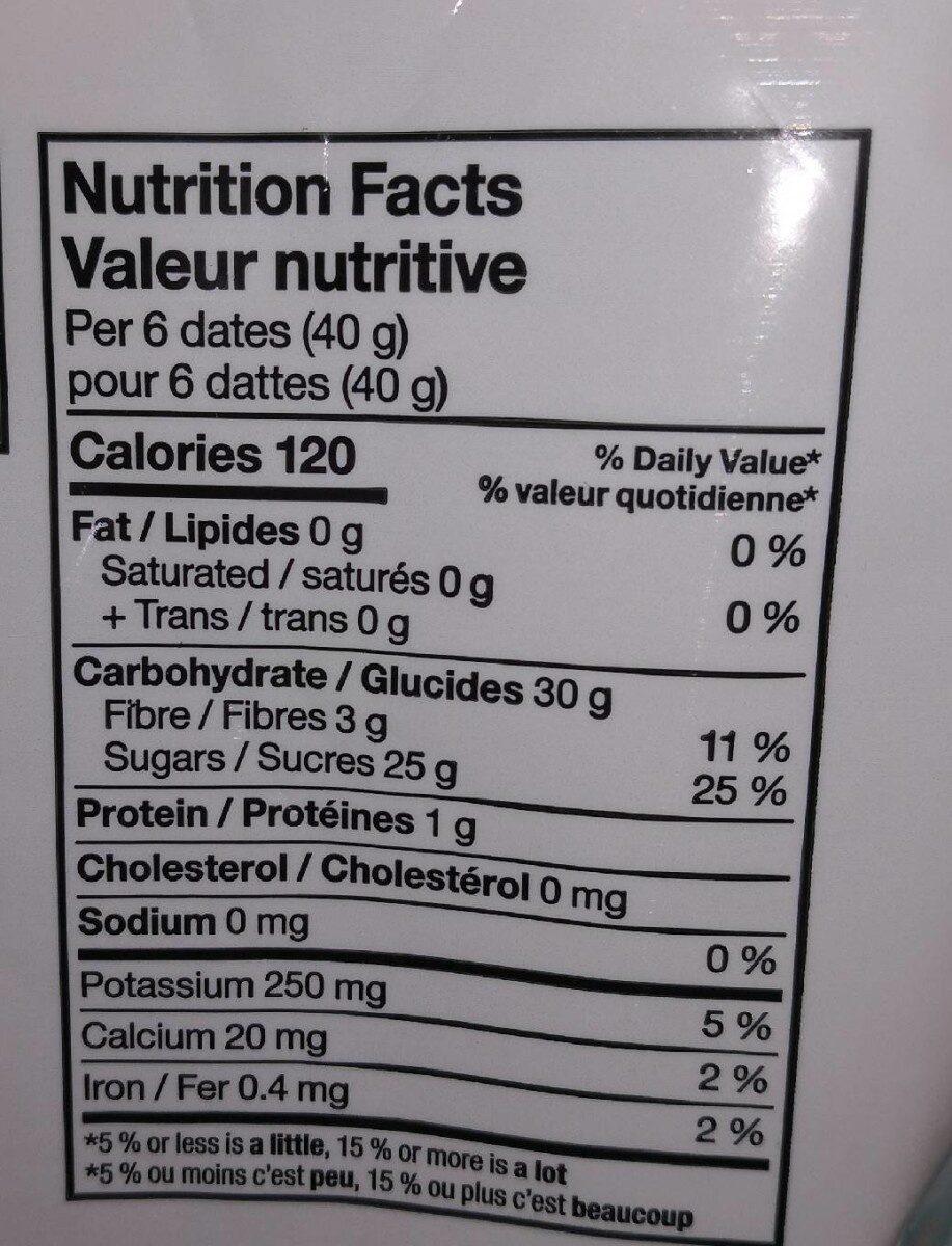 Pitted dates - Informations nutritionnelles - en
