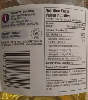 Pure canola oil - Nutrition facts - fr