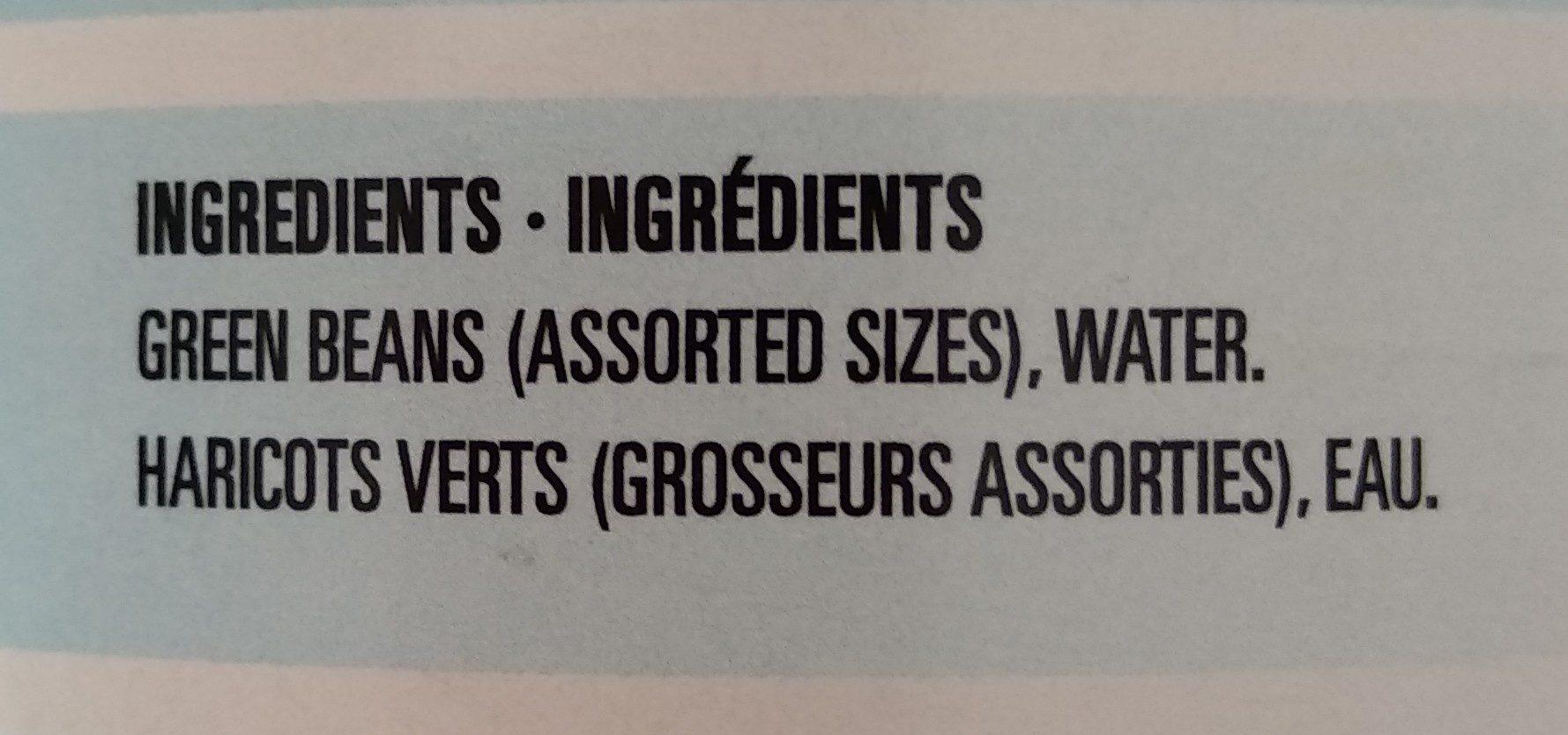 haricots verts coupés sans sel - Ingrédients - fr