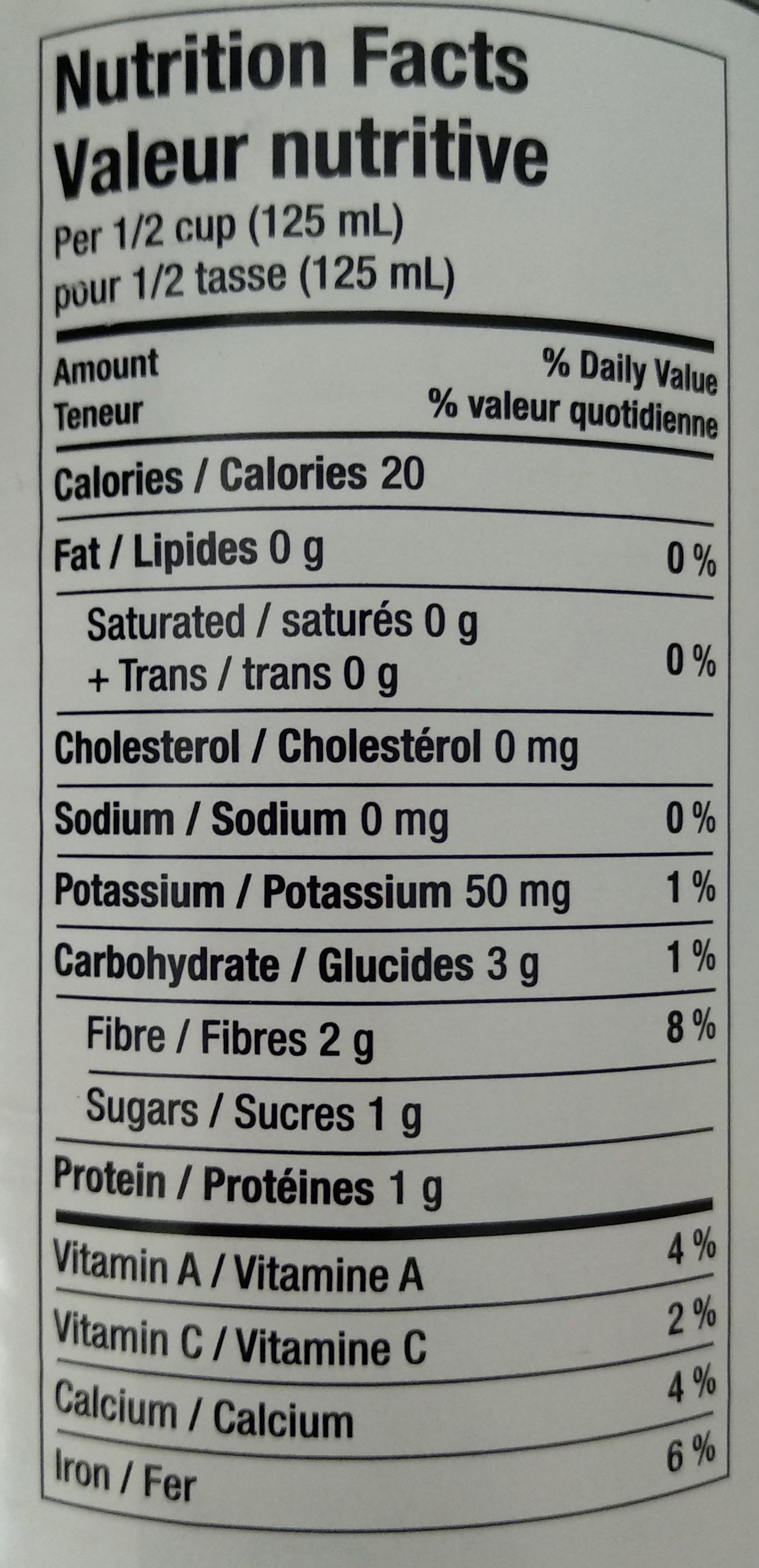haricots verts coupés sans sel - Informations nutritionnelles - fr
