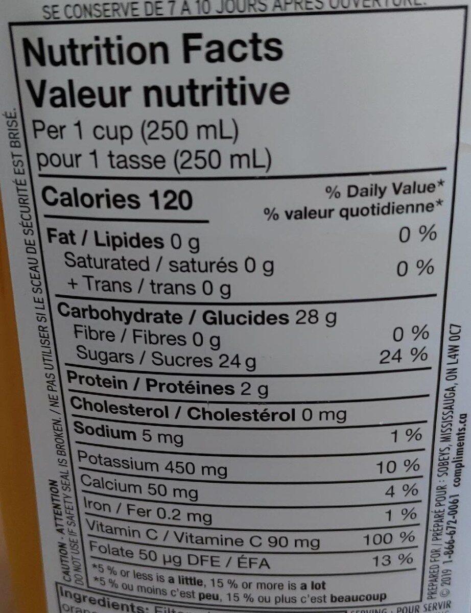 Jus d'orange pur 100% - Informations nutritionnelles - fr